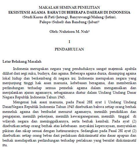 Makalah Seminar Penelitian Eksistensi Agama Baha'i di Indonesia halaman awal