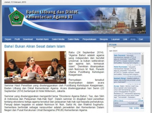 balitbang depag: Baha'i bukan aliran sesat dalam Islam