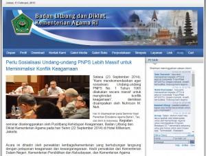 balitbang depag: sosialisasi UU PNPS